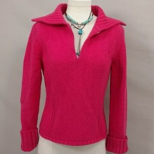 Hot Pink Feminine Sweater Wool Angora Low V v Soft